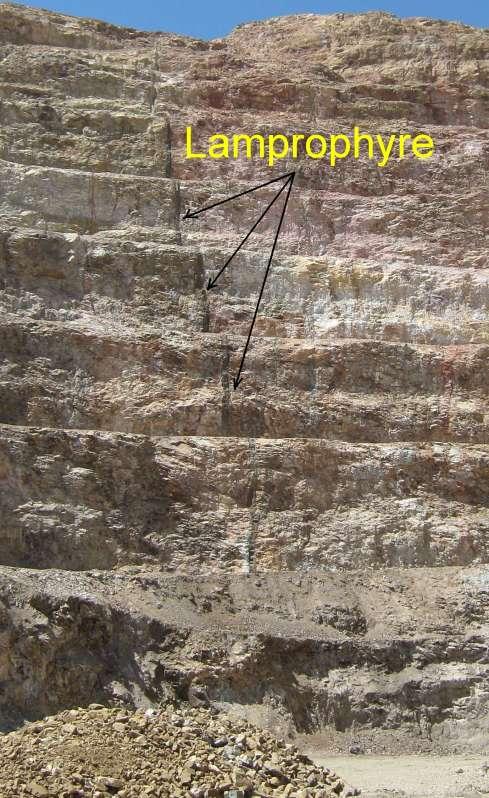 Lamprophyre formation in Cresson Mine