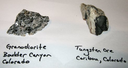 Samples of Granodiorite and Tungsten Ore
