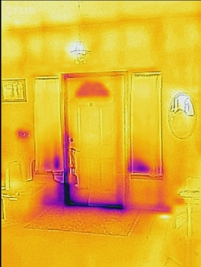 FLIR image of our front entrance, April 1, 2016.