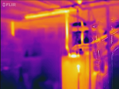 FLIR ONE image of a gas hot water heater under ordinary operating conditions